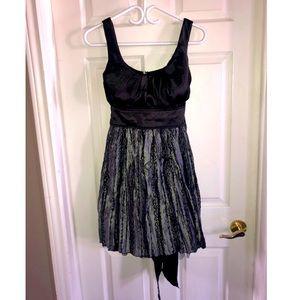 Black/grey sliver silk dress